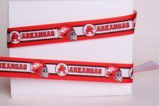 "University of Arkansas Razorbacks 7/8"" Grosgrain Ribbon - Various Yards Football"