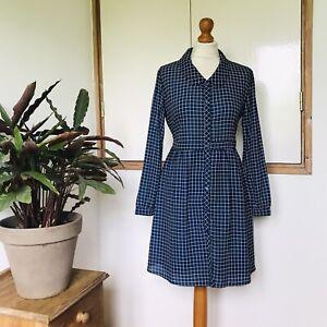 Japanese Navy Blue White Grid Check Print Long Sleeve Collar Mini Dress 12