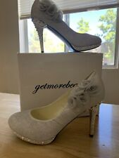 Wedding shoes bridal silver high-heels new in box