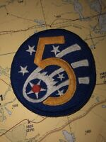 5TH AIR FORCE / VINTAGE WW2 - Dress Issue Patch (Stitched) Embroidered Cut Edge