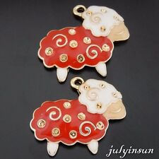 Antique Gold Alloy Enamel Sheep Mutton Pendants Charms Crafts Finding 4x 50619