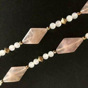 "Vintage 14K GF Yellow Gold Filled Genuine Rose Quartz Necklace 24"" Long"