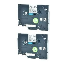 2PK For Brother P-Touch PT-1010 Black on Clear Label Tape 1/2'' TZ-131 TZe-131