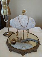 La Regale Vintage Ivory Pearl Beaded Satin Evening Purse Kiss Lock with Chain