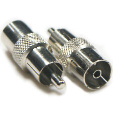 1 RCA/PHONO Male to Digital TV Aerial Female Socket Adapter-Video Converter Plug