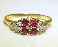 Vintage 18CT RUBY DIAMOND RING 18 CARAT GOLD ETERNITY ENGAGEMENT 2.4g Size P