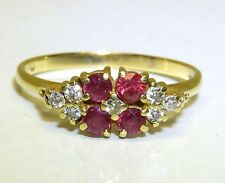 Vintage 18CT RUBY DIAMOND RING 18 CARAT GOLD ETERNITY ENGAGEMENT 2.4g Size P