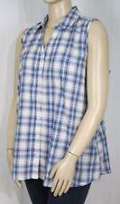 Button Down Shirt Sleeveless 100% Cotton Tops for Women