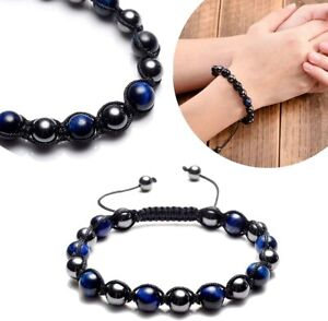 Reiki Healing Energy Natural Tiger Eye Magnetic Hematite Beads Braided Bracelet