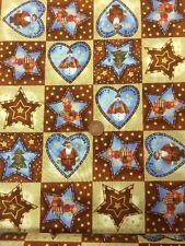 "100% Cotton craft Fabric Christmas Santa Snowman Reindeer Hearts Stars 60"""