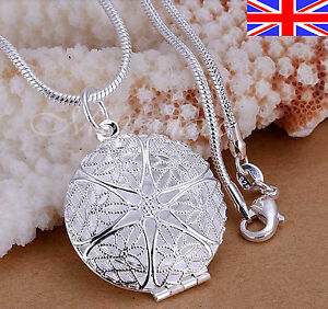 """925 Sterling Silver plt Necklace Locket Photo Pendant 18"""" Snake or Chain"""