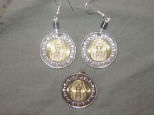 EGYPTIAN EGYPT KING TUT SPHINX SILVER GOLD COIN PENDANT AND EARRINGS SET