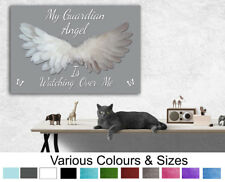 Angel Picture My Guardian Angel Wings A1 (20x30) Grey Angel Wall Canvas Print