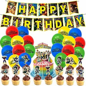46pcs My Hero Academia Birthday Party Decorations Manga Theme Supplies Fans Gift