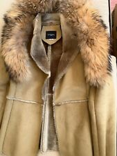 GUESS Brown Detachable Real Fox Fur Collar  Sheepskin Coat/Jacket US XS/S
