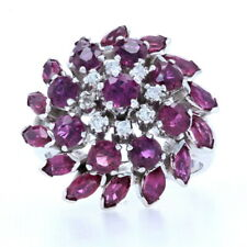 White Gold Ruby & Diamond Cluster Halo Cocktail Ring - 14k Round Cut 4.06ctw