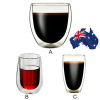 AU 250ml-450ml Double Walled Espresso Cup Clear Glass Coffee Tea Mugs Heat-proof