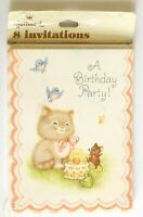 Vintage Hallmark Birthday Party Invitations Cute Kitten w/ Cake & Friends 8 Pack