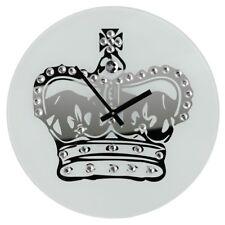 Regal Crown Round Glass Wall Clock 35cm Diamante Analogue Quartz Time Piece New
