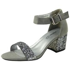 Womens Ladies Ankle Strap Low Glitter Heel Shoes Buckle Party Sandals Size