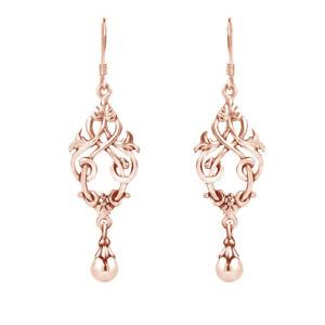 Chandelier Knots Ball Drop 14K Rose Gold Over Fashion Dangle Earrings