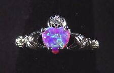 Sterling 925 Silver SF Size 8 Claddagh Ring 7mm Pink Lab Opal Heart & 2mm WT
