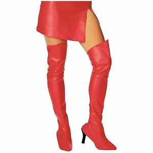 Red Thigh High Boot Tops Costume Faux Leather One Size