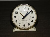 "VINTAGE 3 1/4"" HIGH WESTCLOX MADE IN USA WHITE WIND UP ALARM CLOCK"