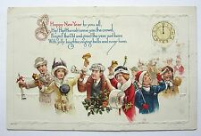 People Celebrate Midnight Clock NEW YEAR with HORNS & BELLS Embossed Postcard