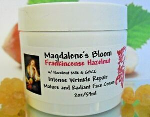 Magdalene's Bloom Frankincense Face Cream Hazelnut Oil Caffeine Anti-Aging 2 oz