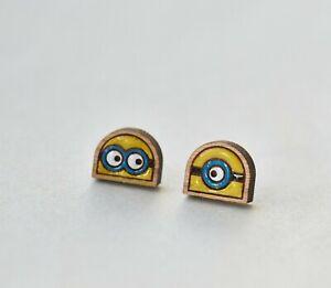 Wood Minions earrings hand painted earrings stud earrings womens girls jewellery