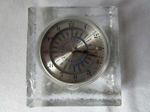 Glas Quader Tischuhr Weltzeituhr Design Schreibtisch Uhr West Germany 14x12x5x6