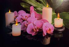 LED Wandbild großes Bild Orchidee mit Kerzen 60 cm x 40 cm Feng Shui