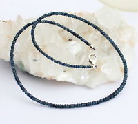 Natur Saphir kette edelsteinkette facettierte Blau Collier 925 Silber Edel 45 cm