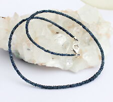 Natural Zafiro Cadena de Piedra Preciosa sapphiere Collar azul JOYAS Hermoso