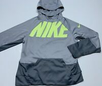 Nike Dri Fit Hoodie Pullover Youth Size Large YXL Gray Neon Green Spellout