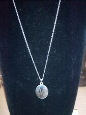 "Sterling Silver Petite Engraved ""M"" Initial Pendant Necklace"