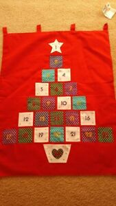 christmas advent hanger  red material