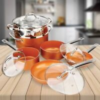 10 Pc Cookware Copper Pan Set Induction Nonstick Chef Skillet Fry Sauce Steamer