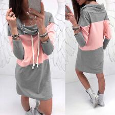 Color Block Heaps Collar Drawstring Long Sleeve Women Casual Mini Dress Splendid