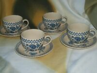 Set of 4 Johnson Bros Old Granite Jamestown Blue Cups and Saucers***