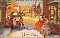 New Year Postcard Victorian Village Musicians and Carolers~108166
