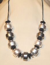 Chunky Shiny Rounded Silver & Black Beaded Corded Pendant Necklace