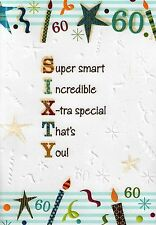 MALE 60TH 60 BIRTHDAY CARDS POETRY IN MOTION GLITTER GREETING CARD NICE VERSE