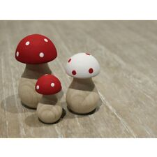 Tall Toadstool Mushroom Wooden Ornaments Set of 3 Red & White