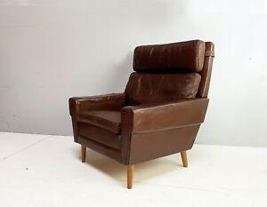 1960's Danish mid century leather armchair