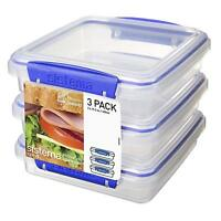 Sistema KLIP IT Sandwich Box, 450 ml - Clear with Blue Clip, Pack of 3