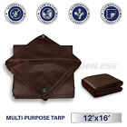 Brown Heavy Duty 15 mil Tarp Reinforced Resistant Cover Boat Shelter Canopy