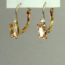 14K solid yellow gold rectangular Citrine stone Leverback earrings