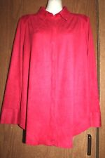 Chico's Polyester/Spandex Red Hidden Button Down Faux Suede LS Shirt Top 0